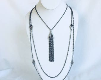Silver Tassel Necklace, Geometric, Rope Chain, Multi Strand, Silver Tone, Vintage, 1970s