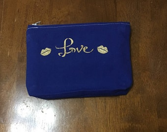 "Blue Canvas Bags, 6""x8"" zipper bag, lips, kisses, Love, lipsense bags, 6x8"" bags, bag with elastic holders, lip kisses, cosmetic bag, purse"