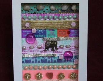"Hand-Made ""Elephant"" Shadow Box Art"