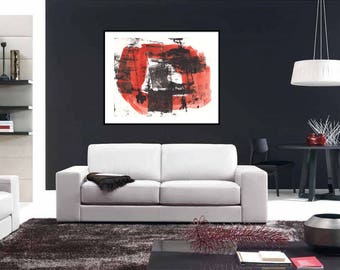 Large Abstract Print, Red and Black Print, Fine Art Print, Modern Gicleé Print, Contemporary Art Living Room Wall Decor