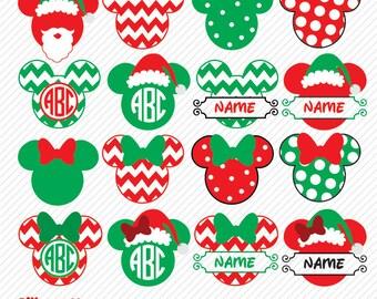 Mickey Christmas SVG, DXF, Mickey Christmas Clipart, Mickey Monogram Christmas svg, Mickey Christmas, Mickey Christmas png, Mickey Monogram