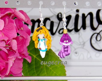 Earrings Alice in Wonderland country cat with polymer clay
