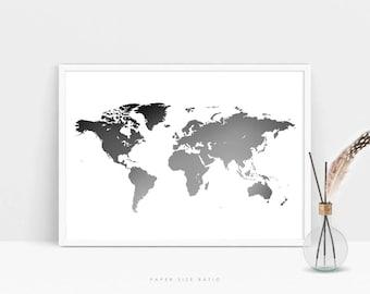 Black And White Map Etsy - Black white world map