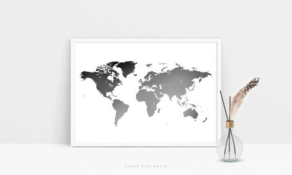 Grey world map print minimalist world map printable black grey world map print minimalist world map printable black and white map of the world modern world map poster world map digital download gumiabroncs Images