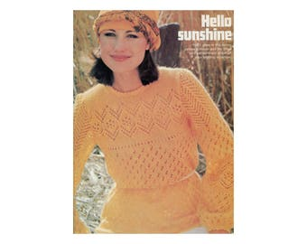 Lace Knit Pullover - Knitting Pattern for Lightweight Sweater in Openwork Eyelets & Diamonds