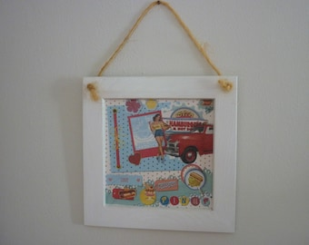 "Retro chic wooden frame ""Pin-up"""