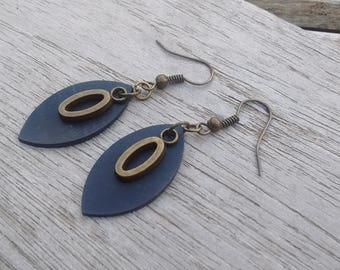 Bicycle inner and bronze charm earrings - dangling earrings - vegan leather earrings - fancy earrings