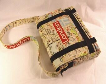 """Satchel bag shoulder bag hand bag, Messenger bag, canvas print """"Plan of London"""", adjustable shoulder strap"""