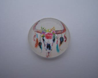 Cabochon 20 mm round domed with his image of feathers and arrows