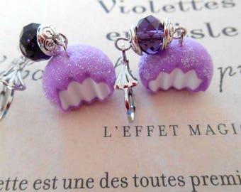 Sweet Purple polymer clay earrings.