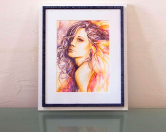 Original Watercolor Box // Faerie Style // Portrait Fairy of the Dusk