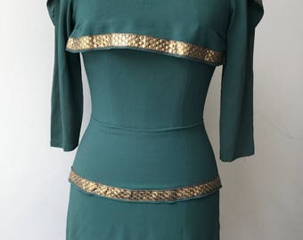 Silk Crepe Turquoise Dress / Gold / Evening Wear / 1970's Vintage