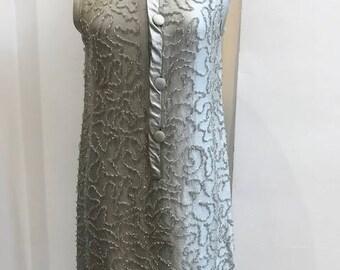 Vintage 1960's Jackie O inspired Heavily Beaded Dress