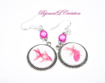 Pink silver fish earrings