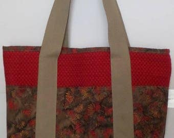 Shoulder Bag with Pockets Dark Red and Batik for Shopping, Books, School, Market, Diapers, Knitting and Sewing Projects