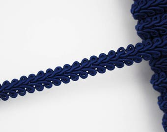 10 mm dark blue stripe, 1 m braid trimmings, dark blue stripe cotton