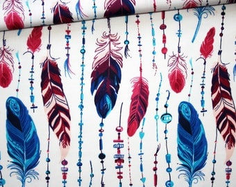 Fabric feathers, 100% cotton printed 50 x 160 cm, fuchsia, turquoise, blue on white feathers
