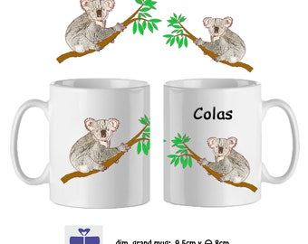 Koala mug personalized with a name (ex. Colas)