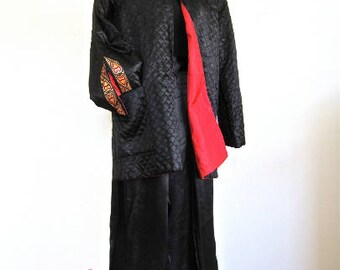M 40s Lounge Pajama Set 2pc Jacket Pants Silky Black Satin Red Lining Red Gold Brocade Hearts Asian by Arsans Medium