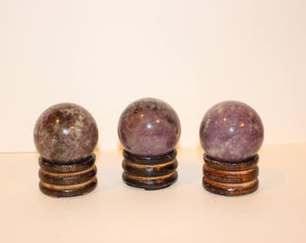 """Lepidolite Sphere - 50mm / 2"""" with stand"""
