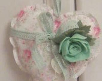Floral hanging fabric heart