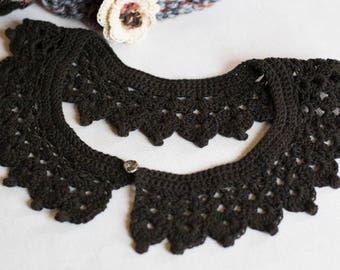 "Collar ""Peter Pan"" black crocheted handmade 100% cotton"