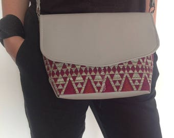 """Lulu"" shoulder bag taupe and African fabric"