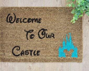 Blue Disney Castle Doormat