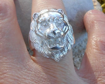 Ring, silver 950, lion head ring lion, gift for him, man, woman ring gift