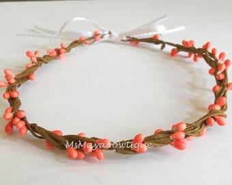 Fall flower headband, rustic crown, flower headband, flower girl headband, peach pip berry crown, bridesmaids flower crown, floral wreath