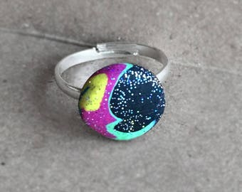 Pink crescent moon and sparkle stars adjustable ring