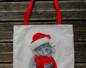 Tote bag HANDMADE Christmas kitten