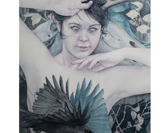 Limited edition archival quality giclée print 'Cailleach Bheur' (Gaeaf) by Teresa Jenellen