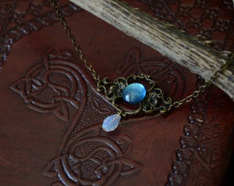 Mermaid Secret Bronze Necklace with Opal Bead and Handpainted Glass Cabochon