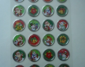 Stickers Christmas wall decal with snowmen in snow, Santa Claus, poinsettias, bells and gifts of 3.00 cm in diameter (with 24 stickers).