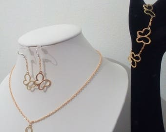 Golden Butterfly set: earrings, bracelet and necklace ideal Valentine's day gift or birthday