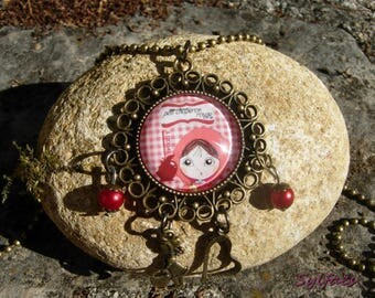 """""""Little Red Riding Hood"""" glass Cabochon necklace - Little Red Riding Hood Fairy Necklace-Fantasy for Collar-Fairytale Jewel"""