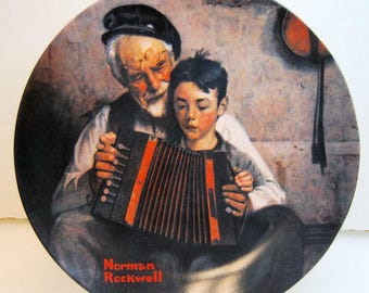 "Edwin Knowles Collector Plate COA from the Norman Rockwell Heritage Collection ""The Music Maker"" 1981"