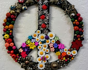 Embellished Wooden Peace Sign.  Another 1 of a kind piece from the studios of 1OFaKindByDebbie!