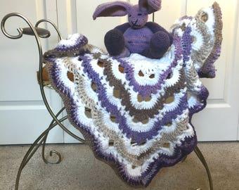 Crochet Baby Set, Bunny and Blanket Bundle