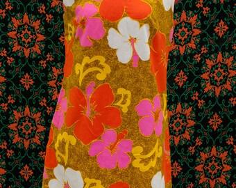 1960's Hawaiian mini dress NEON