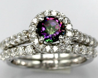 Sterling Silver And Mystic Topaz with Simulated Diamonds Halo Engagement and Band Set- Wedding, Engagement, Anniversary, Proposal Set