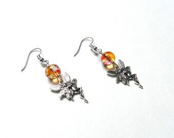 Earrings, fairy, beads, glass, pink, orange, fantasy