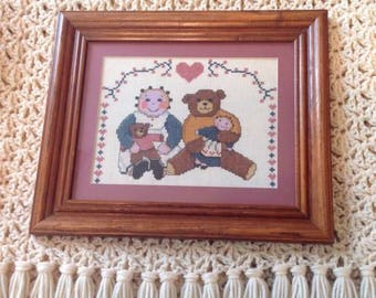 Friends - Framed & Matted Hand Cross Stitched item.