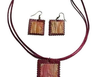 Necklace - Earring rectangle Burgundy and beige marbled