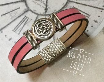 Pink girl leather bracelet with magnetic closure