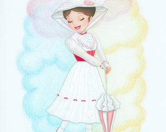 Mary Poppins Jolly Holiday Original Colored Pencil Fan Art