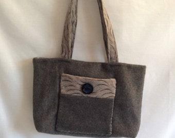 All soft grey wool handbag