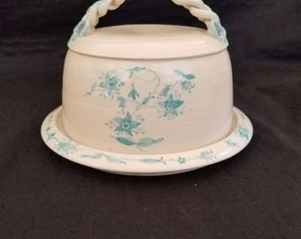 Vintage Blue Flowered Covered Dish - Pottery