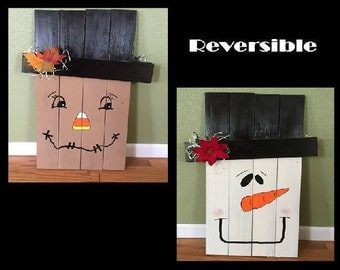 Reversible Snowman & Scarecrow Decor